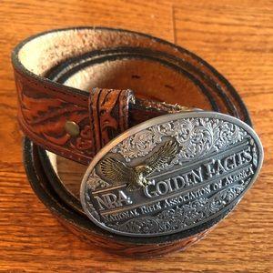 """NRA Golden Eagle Belt Buckle With Money Belt 45"""""""